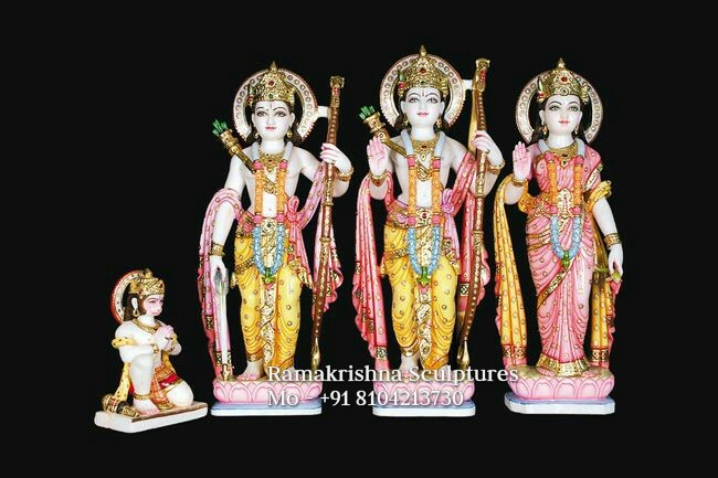 Colored Ram Darbar Marble Statue