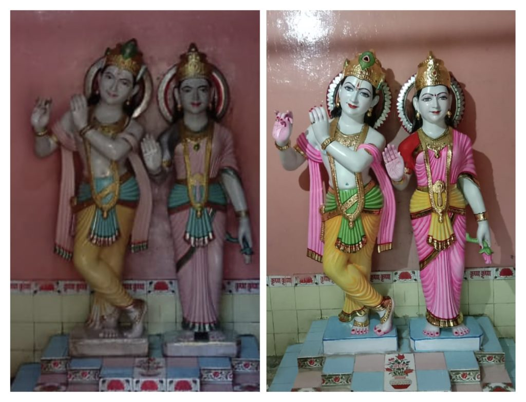 Repainting of marble Statue