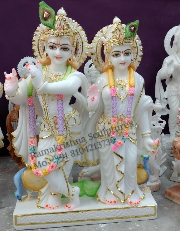 White Marble Radha Krishna Jugal