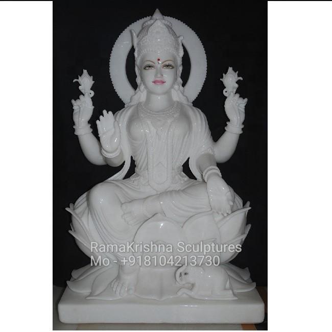 white marble Laxmi maa idol