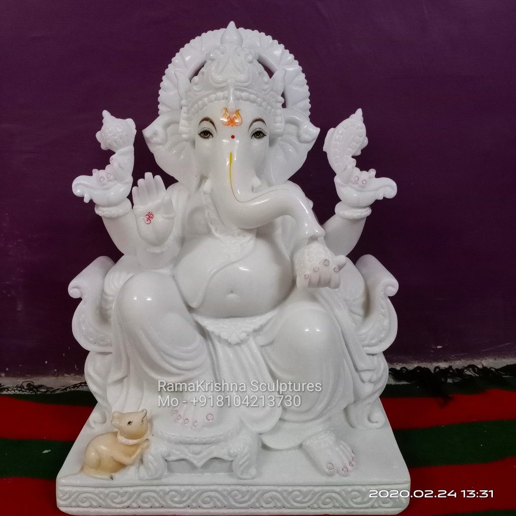 Pure White Ganesha Statue