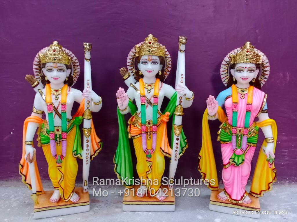 1 Feet Ram Darbar Marble Statue