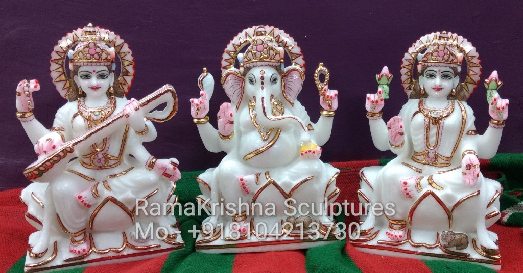 Marble Ganesh Laxmi Saraswati Statue