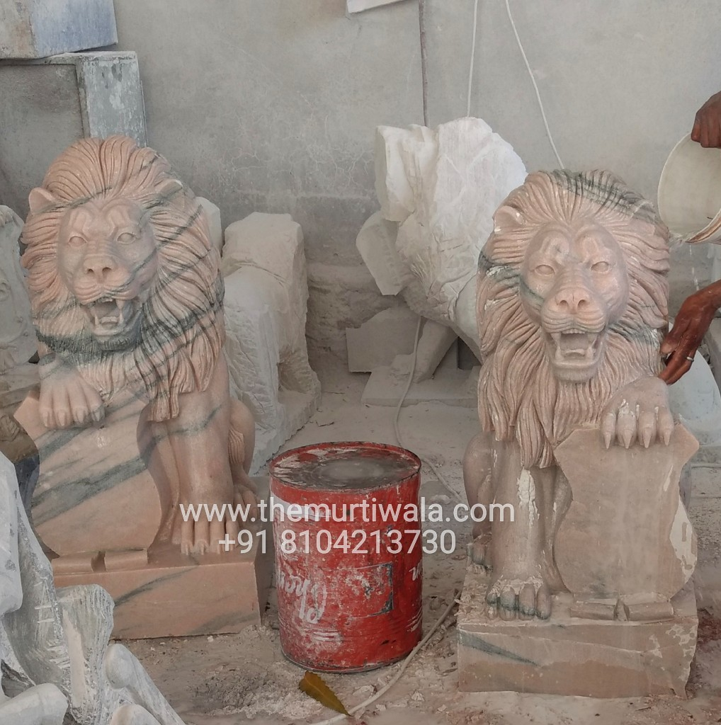 marble lion pair in guarding position