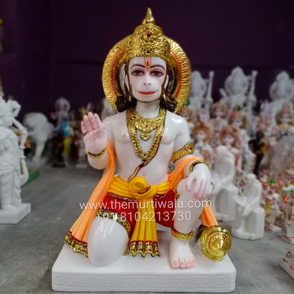 pure white marble hanuman statue