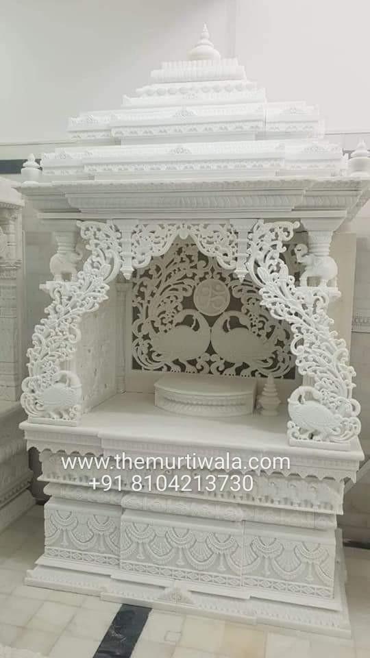 pure white marble mandir