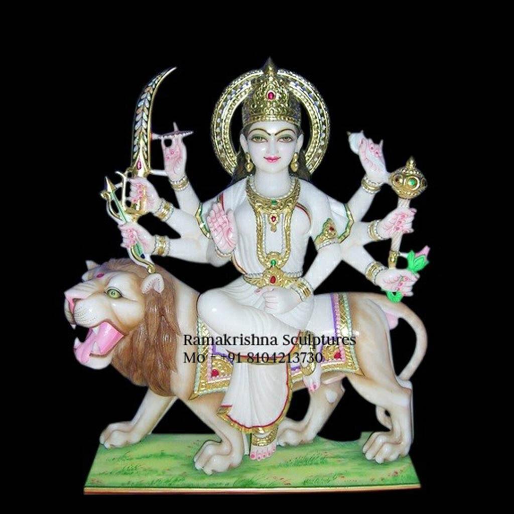 white Marble Durga Maa Statue